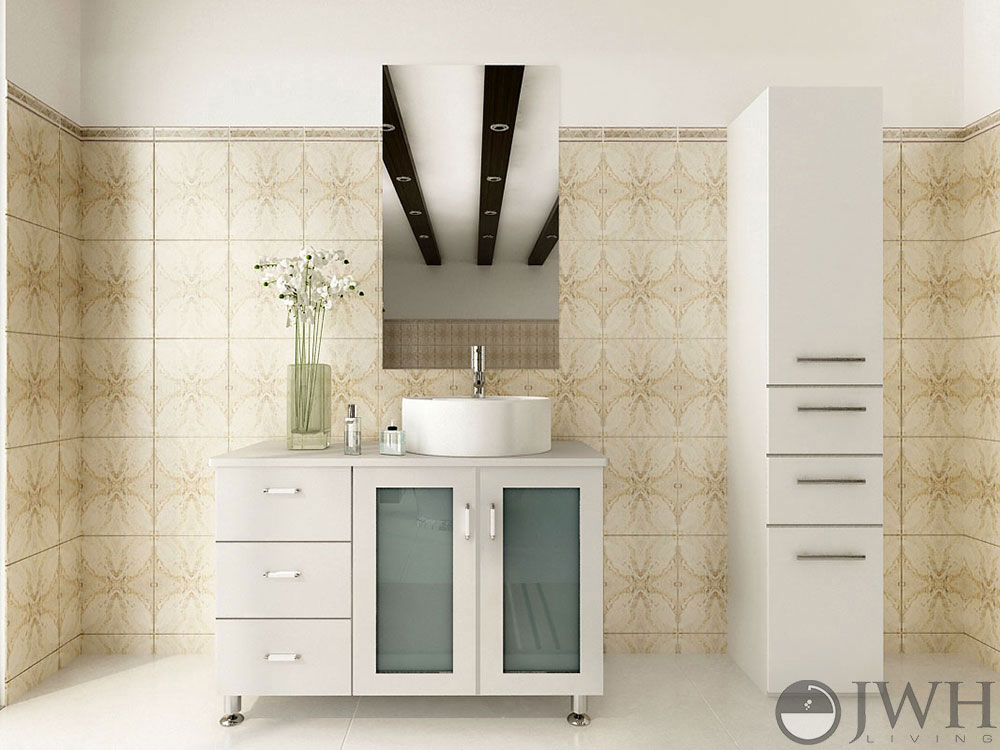 Jwh Living Furniture By Category All Vanities 39 Quot Lune Single Vessel Sink Vanity White