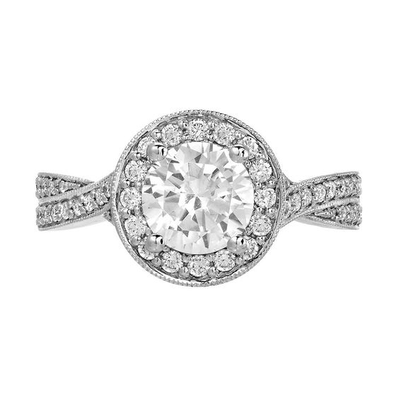 Twisted diamond shank halo engagement ring