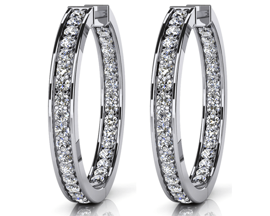 custom earrings Shared prong channel set look single row diamond in out hoops in 14 karat white gold