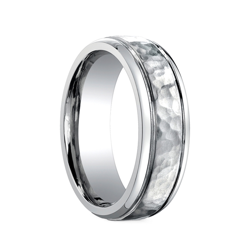 benchmark ring hammered finish titanium wedding band