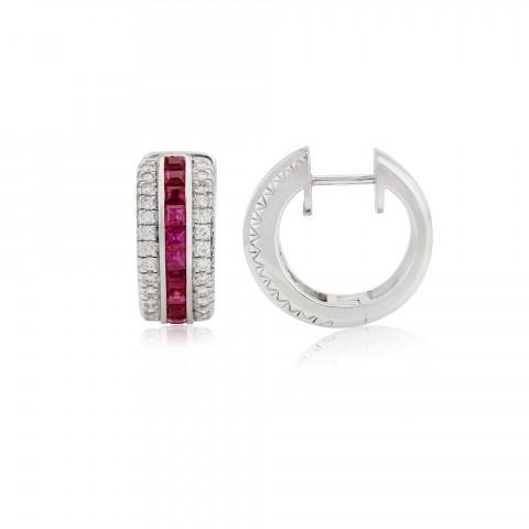 Ruby and diamond hoop earrings