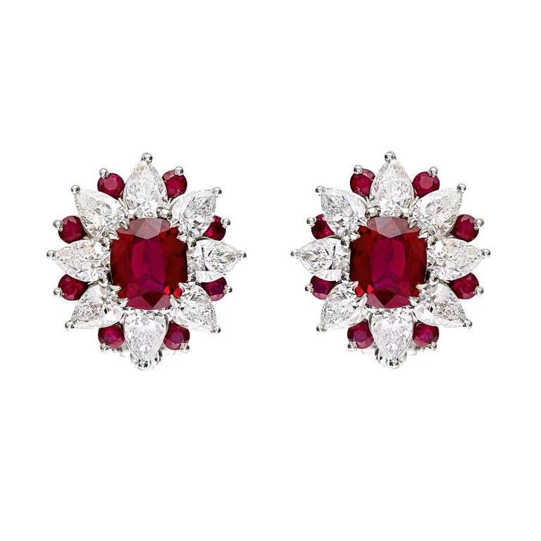 Ruby diamond cluster clip earrings