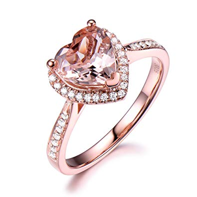 pink heart shaped diamond ring