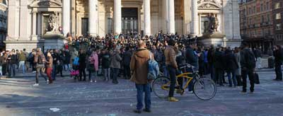 A gathering in Brussels on March 22, the day that terror attacks killed 31 people in that city. Credit: Miguel Discart via Wikimedia Commons.