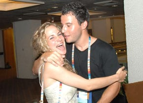 Bec and Adam Joseph announce their engagement in Israel in 2009   pic: Henry BEnjamin