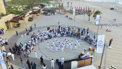 A karate demonstration in Herzliya by a mixed Jewish and Arab group