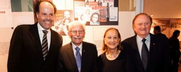 Ronald Leopold, director Anne Frank Foundation in Amsterdam, Boyd Klap, Chairman, Anne Frank Exhibition Australia, Pauline Gandel and John Gandel.  Photo: Simon Shiff