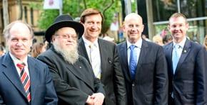 David Clarke, Rabbi Linchis Feldman, Ron Hoenig, John Robertson and Bruce Notley-Smith   photo: Henry Benjamin