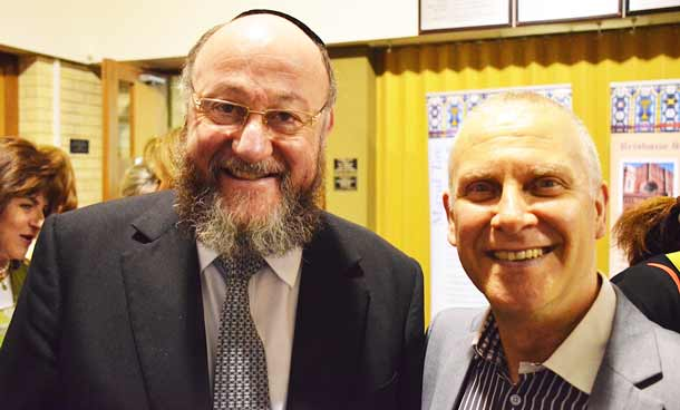 Chief Rabbi Mirvis with schoolfriend Bram Binary in Perth.