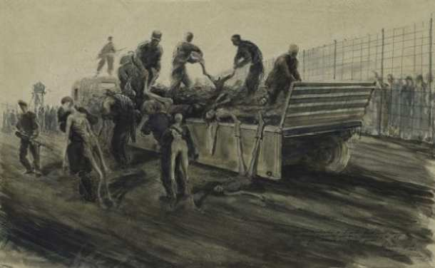 SS troops unloading the death wagon, Belsen Watercolour, pen and black ink on paper, 1945 Alan Moore