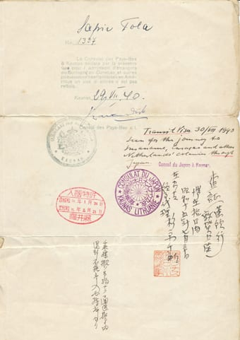 Transit visa baring the stamp of Sugihara. The document was issued to Mr Jakob Sapir, Mrs Tola Sapir and their four year old son Piotr- Seweryn Sapir in lieu of passports, allowing the family to travel safely through Japan. SJM Collection