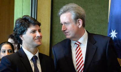 Minister Victor Dominello and Premier Barry O'Farrell    photo: Henry Benjamin