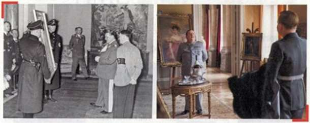 Goring and Hitler look at a painting in 1938; a scene from The Monuments Men in which Goring visit the Jeu de Paume, a Paris museum used by the Nazi regime to hold plundered works of art