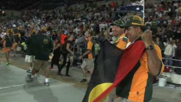 Glen Ella shows the flag