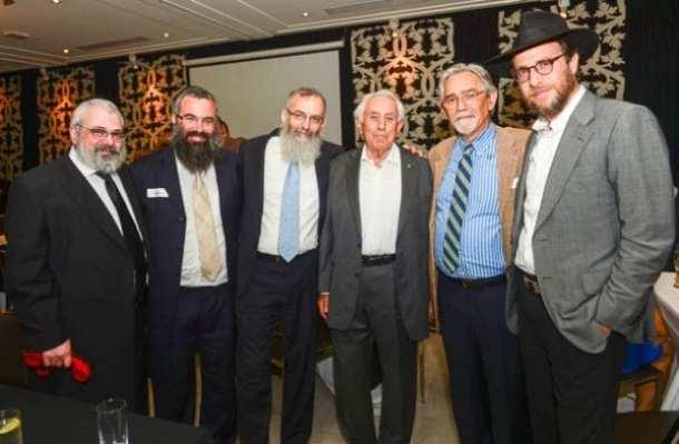 Rabbi  Yehoram Ulman, Rabbi Dovid Slavin, Rabbi David Stav, Harry Trguboff, Shalom Norman and Rabbi Levi Wolff