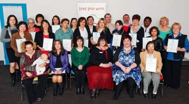 Jewish Care Certificate IV in Frontline Management staff graduates proudly display their certificates.