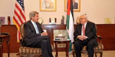 U.S. Secretary of State John Kerry (left) sits with Palestinian Authority President Mahmoud Abbas before a meeting in Amman, Jordan, on June 28, 2014. Kerry and Abbas had their latest meeting, also in Amman, on Feb. 21, 2016. Credit: U.S. Department of State.