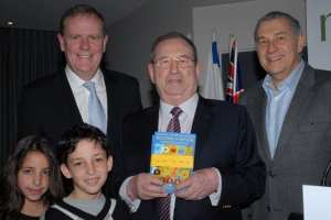 Melbourne Book Launch  l-r Peter Costello, contributor George Szalmuk [with grandchildren] and Danny Lamm