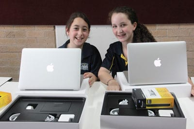 Moriah Year 7 students and their new Macbook Airs