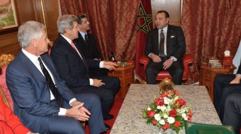 U.S. Secretary of State John Kerry and U.S. Secretary of Defense Chuck Hagel meet with King Mohammed VI of Morocco at the Moroccan Ambassador to the United States' residence in Washington, D.C., on November 20, 2013. Credit: U.S. Department of State.