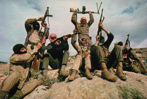 In 1969, members of the Popular Front for the Liberation of Palestine (PFLP) terror group are pictured flaunting their weapons in the mountains east of the Jordan River. Eclipsed in recent decades by the other Palestinian factions of Fatah and Hamas, the PFLP returned to the scene with a vengeance on Nov. 18 through its members' bloody attack on a Jerusalem synagogue. Credit: Thomas R. Koeniges via Wikimedia Commons.