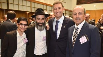 Emanuel Cohavi, Rabbi Roni Cohavi, Julian Leeser, and NSWJBD CEO Vic ALlhadeff