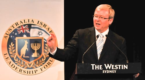 Prime Minister Rudd makes a point            pic: Henry Benjamin