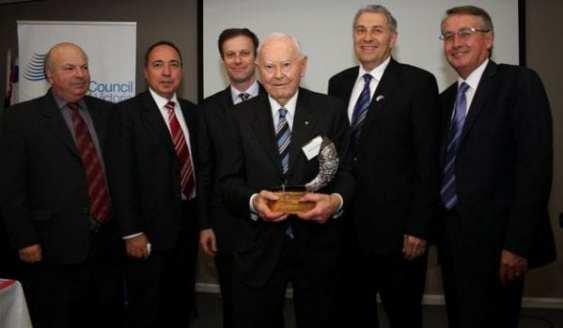 Sam Salcman, Israeli Ambassador Yuval Rotem, Philip Chester, Saul Same, Dr Danny Lamm and Federal Treasurer Wayne Swan