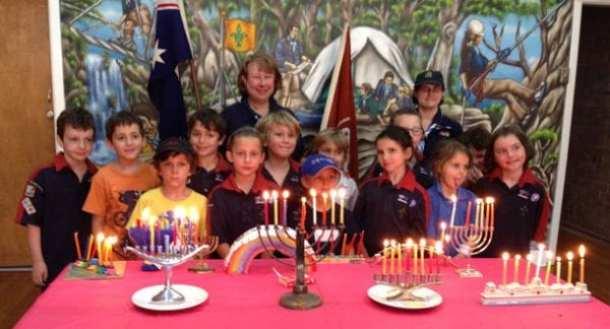 3rd Rose Bay Judean Joey Scouts celebrating Chanukah.