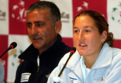 Israeli tennis player Shahar Pe'er at a 2008 press conference with other members of the Israeli team prior to their Fed Cup match against Russia in Tel Aviv. Credit: Roni Schutzer/Flash90.