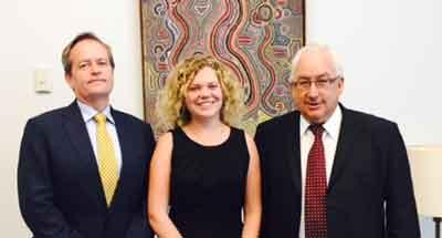 Opposition Leader Bill Shorten, Jessica Cornish and Labor M.P.  Michael Danby