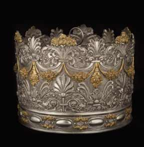 Torah crown Italy, mid-19th century silvered metal 23 x 30 cm Photographer Jean-François Jaussaud Collection of the Communità Ebraica di Venezia (The Jewish Community of Venice)