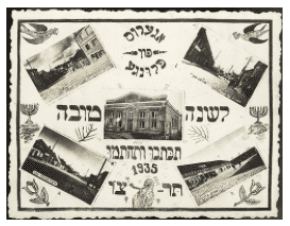 A New Years card sent from the town of Plunge in Lithuania in 1935