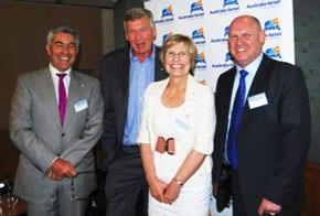 John Cluer, Chief Executive AICC(WA), Paul Clitheroe, Professor Lyn Beazley Chief Scientist of WA, and Julian Summers, Partner ipac Western Australia.