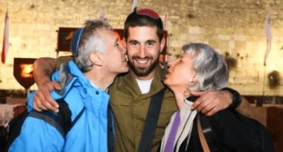Ari Toch with his parents in Israel Photo: Oren Ben Hakoon