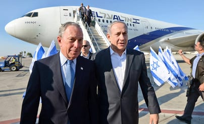 ormer New York City mayor Michael Bloomberg (left) is pictured with Israeli Prime Minister Benjamin Netanyahu as Bloomberg arrives in Israel on July 23, 2014. At the time, Bloomberg flew to Israel to take a stand against a U.S. Federal Aviation Administration ban on flights to the Jewish state. Credit: Haim Zach/GPO/Flash90.