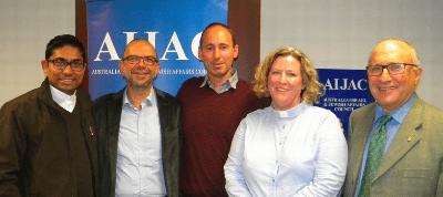 Fr. Isuru Weliwatte, Rabbi Ralph Genende, Rev. Peter Rivett, Canon Heather Patacca and AIJAC executive director Colin Rubenstein.