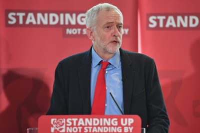 Labour Party Leader Jeremy Corbyn speaks as he attends an anti-semitism inquiry at Savoy Place on June 30 in London England. Credit: Jeff J Mitchell/Getty Images.