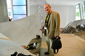 Sydney architect David Phillips checks out the Gehry designed staircase. Photo: Henry Benjamin