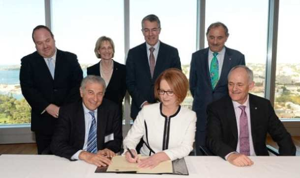 Prime Minister Julia Gillard signs the London Declaration