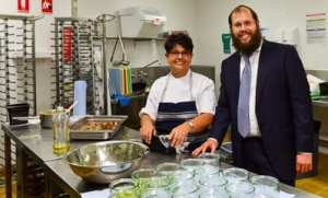 Chef Rita Manor and Rabbi Aron Groner