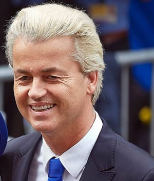 Dutch politician and leader of the far-right Party for Freedom (PVV), Geert Wilders. Wilders, who spent time in Israel as a young adult, has been an outspoken supporter of Israel.