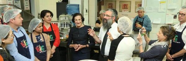 Dame Marie Bashir listens to talk from Rabbi Dovid Slavin