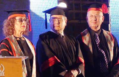 Martin Gilbert (center) is awarded an honorary doctorate at Ben Gurion University in Beer Sheva, Israel, in May 2011. Credit: Wikimedia Commons.