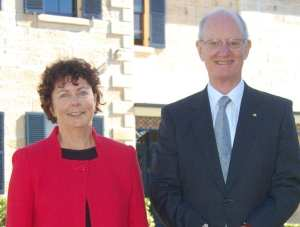 Anne Hastings with retiring principal Dr Bruce Carter