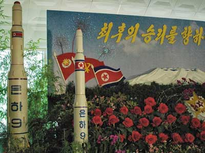 A model of a North Korean Unha-9 rocket on display in Pyongyang, North Korea, in August 2013. Credit: Steve Herman via Wikimedia Commons.