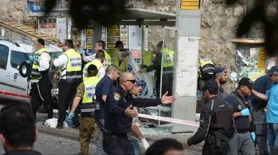 ZAKA volunteers respond to a recent car-ramming attack on Malchei Yisrael Street in Jerusalem. Credit: Courtesy ZAKA.