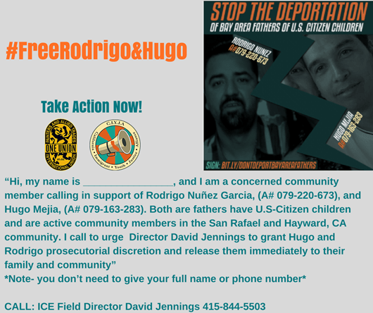 Call ICE Director David Jennings at 415-844-5503