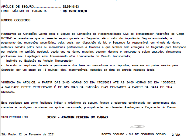 Certificado Seguro RCTRC