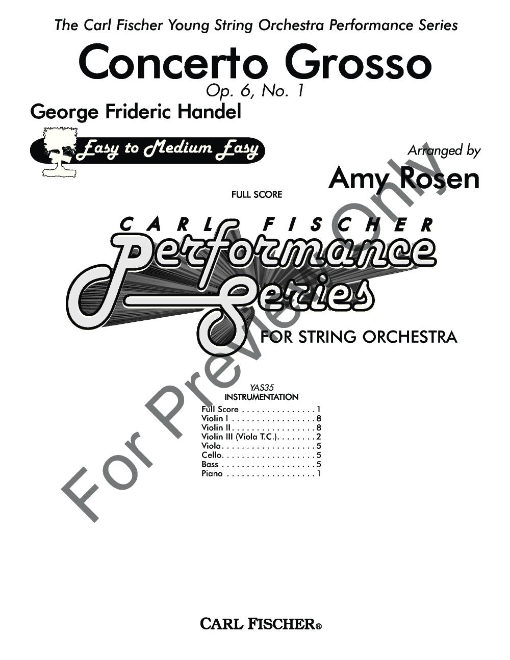 Concerto Grosso by G. F. Handel/arr. Rosen| J.W. Pepper
